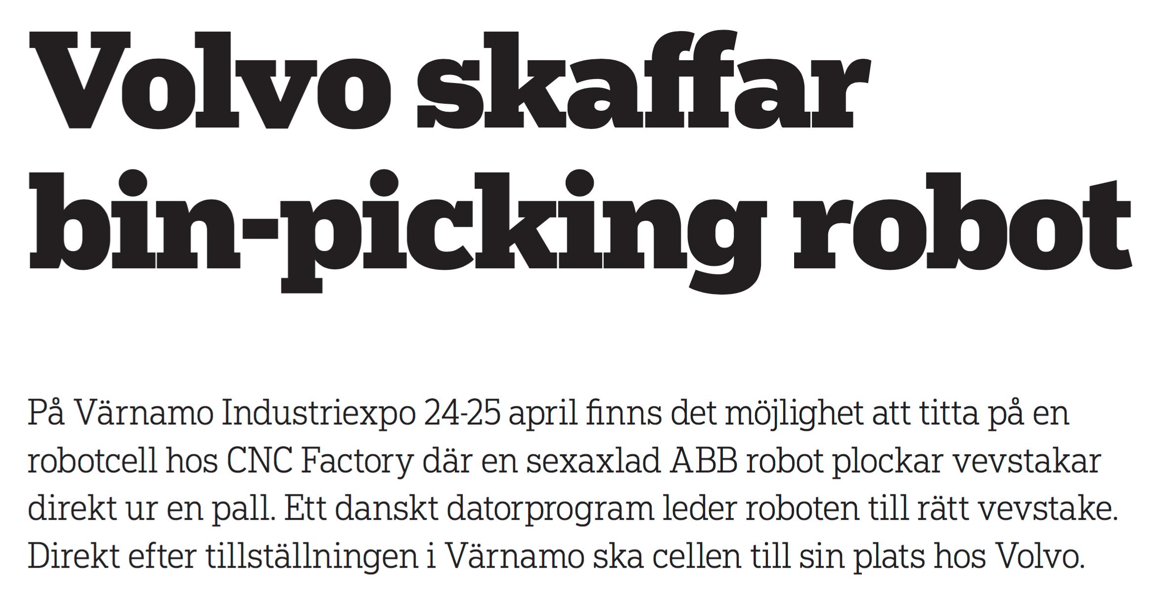 Volvo skaffar bin-picking robot