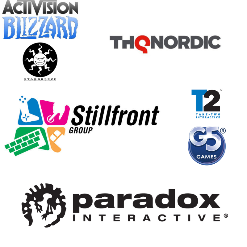 Activision Blizzard, Starbreeze, THQ Nordic, Stillfront, Take-Two interactive, G5 Entertainment och Paradox Interactive.