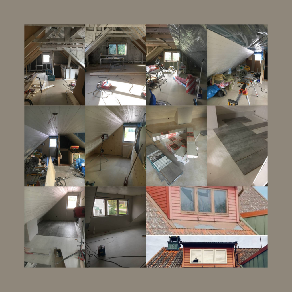 Vi förhandlade med försäkringsbolaget om att få panel på väggarna/tak istället för slipat gips (vi hade behövt måla). Detta gick försäkringsbolaget med på efter en utdragen diskussion om vad som var billigast. Dessutom valde vi att passa på och byta till nya fönster. Golvet valde vi att lägga själva för att spara på kostnaderna.