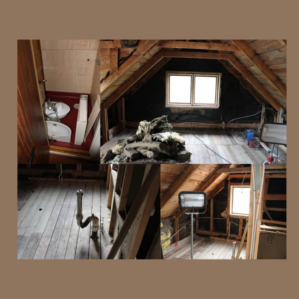Vi fick börja med att renovera lägenheten efter en brand (rökskada) . Detta var ett försäkringsärende vi övertog från tidigare ägare. Utrymmet är på ca 40 kvm med en kokvrå och toalett med dusch. Försäkringen täckte sanering och återuppbyggnad till ytskikt men varken toalett eller nytt kök. Den tidigare lägenheten någon högre standard och hade till exempel inte något riktigt kök utan ett pentry.