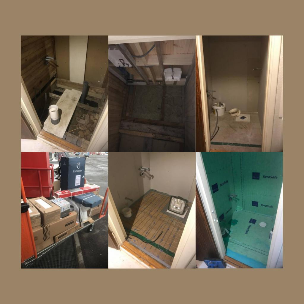 Hyresrättens badrum som var i det minsta laget (1,5 kvm) behövde totalrenoveras eftersom ytskiktet var helt försört. Vi valde att ta in en firma som gjorde detta och lyxade även till med golvvärme. Vi sparade dock in lite på badrumskostnaderna genom att riva tidigare ytskikt innan byggarna satte igång.