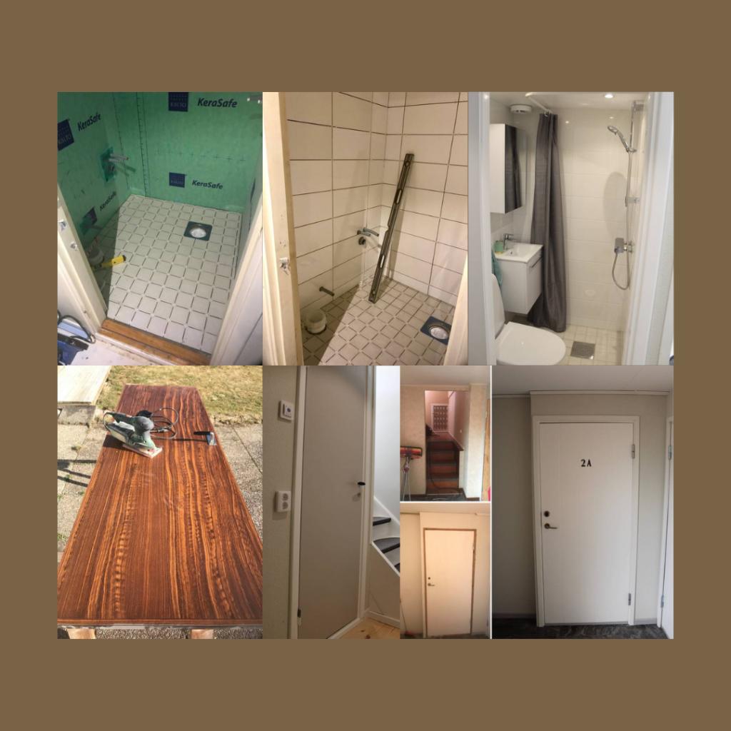 Badrummet blev otroligt bra med tanke på den lilla ytan och vi valde att återanvända den tidigare badrumsdörren. Vi gjorde även en ny entré till hyresrätten.