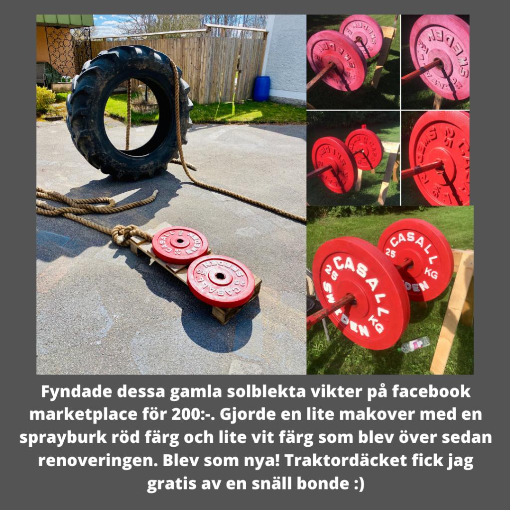 Fyndade dessa gamla solblekta vikter på facebook marketplace för 200:-. Gjorde en lite makover med en sprayburk röd färg och lite vit färg som blev över sedan renoveringen. Blev som nya! Traktordäcket fick jag gratis av en snäll bonde :)