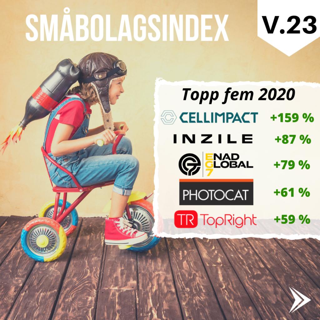 Topp fem i småbolagsindex 2020